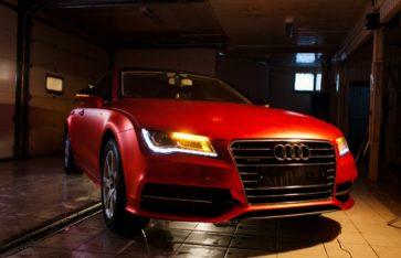Audi A7 (Red matt chrome) первый в России. Оклейка автомобиля эксклюзивным материалом.