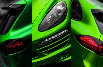 Porsche Cayenne. Зеленый матовый хром. Re-styling Москва.