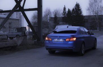 BMW 5-серии (f10) в пленку Arlon «Blue Aluminium».