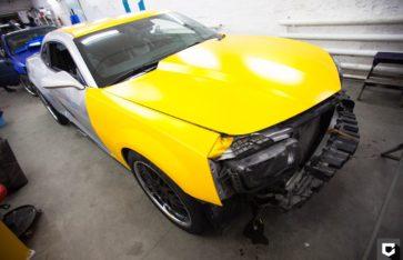 Chevrolet Camaro Hennessey полная оклейка в желтый матовый металлик