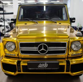 «Mercedes-Benz G-Class» оклейка кузова золотой хромовой пленкой
