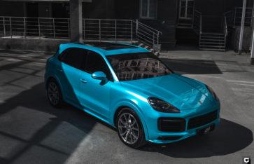 Porsche Cayenne (Полная оклейка в бирюзовый металлик)